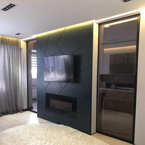 Сдвижные перегородки в стиле лофт в спальне в квартире в Минске