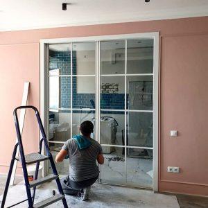 Металлическая лофт перегородка в комнате в городе Минск
